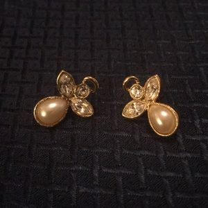 Avon CZ and Pearl Angel Earrings